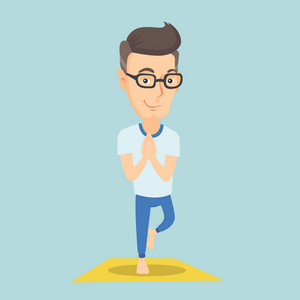 Caucasian sportsman meditating in yoga tree position. Smiling sportsman standing in yoga tree pose. Sporty man doing yoga on the mat. Vector flat design illustration. Square layout.