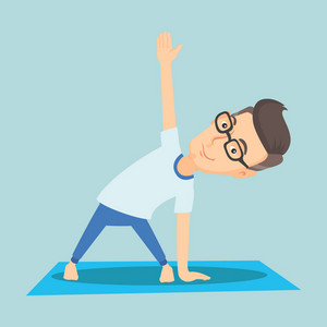 Caucasian sportsman meditating in yoga triangle position. Cheerful sportsman standing in yoga triangle pose. Sporty man doing yoga on the mat. Vector flat design illustration. Square layout.