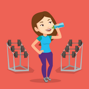 Caucasian sporty woman drinking water. Young woman standing with bottle of water in the gym. Smiling sportswoman drinking water from the bottle. Vector flat design illustration. Square layout.