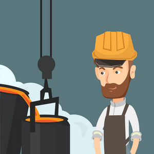 Caucasian steelworker in a hardhat at work in the foundry. Steelworker controlling iron smelting in the foundry. Industrial worker in steel making plant. Vector flat design illustration. Square layout