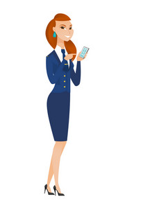 Caucasian stewardess holding mobile phone and pointing at it. Full length of stewardess with mobile phone. Stewardess using mobile phone. Vector flat design illustration isolated on white background.