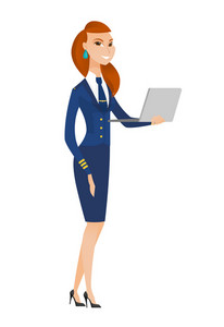 Caucasian stewardess in uniform using laptop. Full length of young stewardess working on a laptop. Cheerful stewardess holding a laptop. Vector flat design illustration isolated on white background.