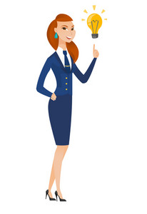 Caucasian stewardess pointing at bright idea light bulb. Full length of stewardess having a creatie idea. Concept of successful idea. Vector flat design illustration isolated on white background.