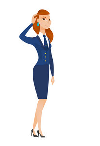 Caucasian stewardess scratching her head. Full length of thoughtful stewardess scratching head. Puzzled stewardess scratching her head. Vector flat design illustration isolated on white background.