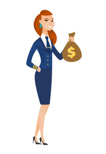 Caucasian stewardess showing money bag with dollar sign. Full length of young stewardess with money bag. Stewardess holding money bag. Vector flat design illustration isolated on white background.
