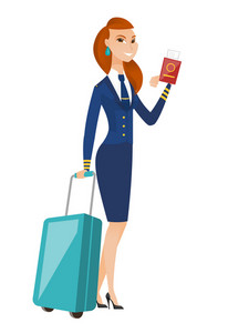 Caucasian stewardess showing passport and airplane ticket. Full length of young stewardess with suitcase and passport with airplane ticket. Vector flat design illustration isolated on white background