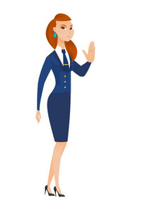 Caucasian stewardess showing stop hand gesture. Full length of young stewardess doing stop gesture. Serious stewardess with a stop gesture. Vector flat design illustration isolated on white background