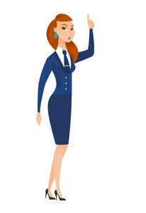 Caucasian stewardess with open mouth pointing finger up. Full length of young stewardess with open mouth came up with creative idea. Vector flat design illustration isolated on white background.