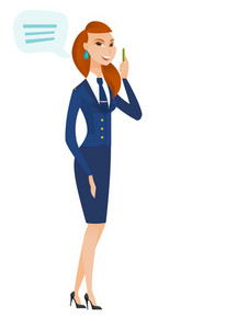 Caucasian stewardess with speech bubble. Stewardess giving a speech on conference. Stewardess with speech bubble coming out of her head. Vector flat design illustration isolated on white background.