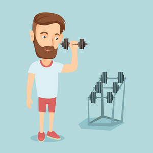 Caucasian strong sportsman doing exercise with dumbbell. Young sporty man lifting a heavy weight dumbbell. Weightlifter holding dumbbell in the gym. Vector flat design illustration. Square layout.