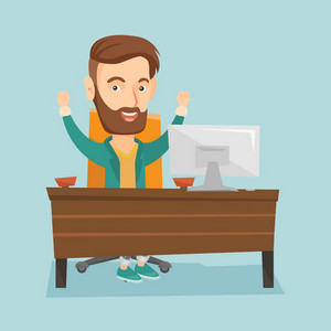 Caucasian successful business man celebrating at workplace. Successful hipster business man celebrating business success. Successful business concept. Vector flat design illustration. Square layout.