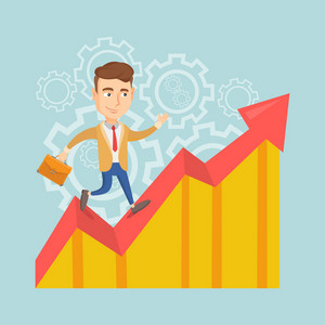 Caucasian successful business man standing on profit chart. Young happy business man running along the profit chart. Business profit concept. Vector flat design illustration. Square layout.