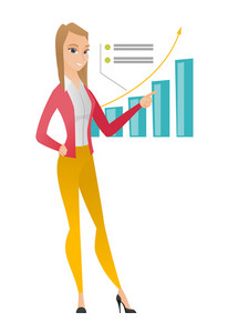 Caucasian successful business woman pointing at chart going up. Business woman satisfied by her business success. Business success concept. Vector flat design illustration isolated on white background