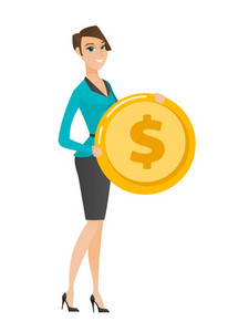Caucasian successful business woman with golden coin in hands. Successful business woman holding golden coin. Business success concept. Vector flat design illustration isolated on white background.