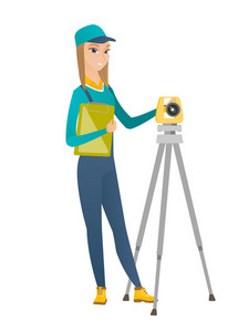 Caucasian surveyor builder holding clippboard and working with theodolite. Surveyor builder standing near theodolite transit equipment. Vector flat design illustration isolated on white background.