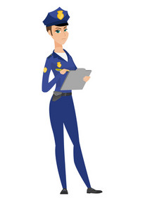 Caucasian traffic police woman in blue uniform writing fine bill. Traffic police woman writing a penalty. Concept of traffic security. Vector flat design illustration isolated on white background.