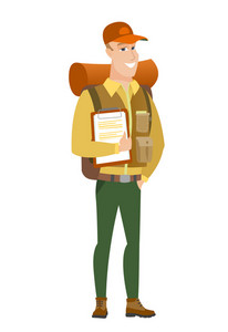 Caucasian traveler holding clipboard with papers. Full length of traveler with papers. Young smiling traveler holding papers. Vector flat design illustration isolated on white background.