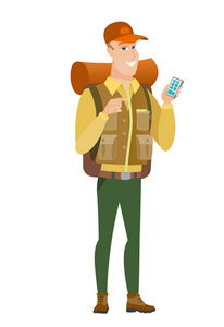 Caucasian traveler holding mobile phone and pointing at it. Full length of traveler with mobile phone. Traveler using mobile phone. Vector flat design illustration isolated on white background.