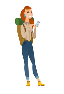 Caucasian traveler holding mobile phone and pointing at it. Full length of traveler with mobile phone. Traveler woman using mobile phone. Vector flat design illustration isolated on white background.