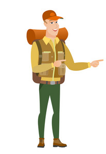 Caucasian traveler indicating with two fingers to the side. Full length of cheerful traveler pointing with two fingers to the side. Vector flat design illustration isolated on white background.