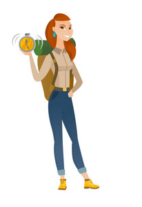 Caucasian traveler showing ringing alarm clock. Full length of young traveler with alarm clock. Cheerful traveler holding alarm clock. Vector flat design illustration isolated on white background.