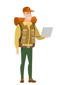 Caucasian traveler using laptop. Full length of young smiling traveler working on a laptop. Cheerful traveler holding laptop. Vector flat design illustration isolated on white background.