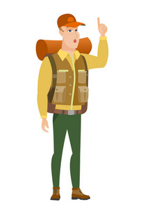 Caucasian traveler with open mouth pointing finger up. Full length of young traveler with open mouth came up with successful idea. Vector flat design illustration isolated on white background.