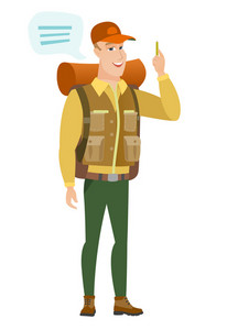 Caucasian traveler with speech bubble. Young traveler giving a speech. Smiling traveler with speech bubble coming out of his head. Vector flat design illustration isolated on white background.