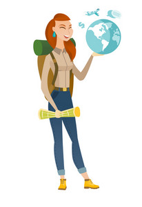 Caucasian traveler woman carrying map and globe. Young traveler planning holiday and holding a globe. Woman travelling all over the world. Vector flat design illustration isolated on white background.