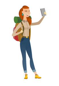 Caucasian traveler woman making selfie. Traveler woman with backpack taking selfie with cellphone. Traveler taking selfie during trip. Vector flat design illustration isolated on white background.