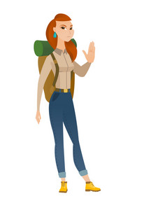 Caucasian traveler woman showing stop hand gesture. Full length of traveler doing stop gesture. Serious traveler with a stop gesture. Vector flat design illustration isolated on white background.