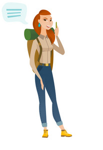 Caucasian traveler woman with speech bubble. Young traveler giving a speech. Smiling traveler with speech bubble coming out of her head. Vector flat design illustration isolated on white background.