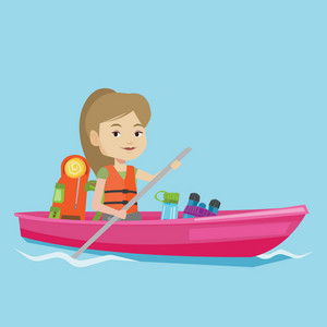 Caucasian traveling woman riding in a kayak on the river with skull in hands and some tourist equipment behind her. Happy kayaker traveling by kayak. Vector flat design illustration. Square layout.