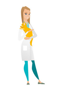 Caucasian veterinarian doctor holding a cat. Veterinarian doctor carrying a cat. Veterinarian doctor examining cat. Pet care concept. Vector flat design illustration isolated on white background.