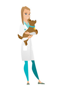 Caucasian veterinarian doctor holding dog. Veterinarian doctor carrying a dog. Young veterinarian doctor examining dog. Pet care concept. Vector flat design illustration isolated on white background.
