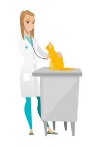 Caucasian veterinarian examining cat in hospital. Veterinarian checking heartbeat of a cat with stethoscope. Medicine and pet care concept. Vector flat design illustration isolated on white background