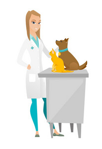 Caucasian veterinarian examining pets in hospital. Young veterinarian doctor with pets at vet clinic. Concept of medicine and pet care. Vector flat design illustration isolated on white background.