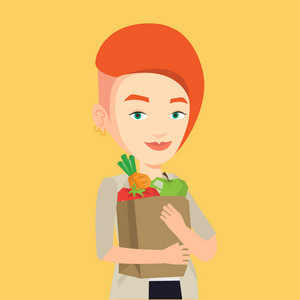 Caucasian woman carrying grocery shopping bag with vegetables. Woman holding grocery shopping bag with healthy food. Girl with grocery shopping bag. Vector flat design illustration. Square layout