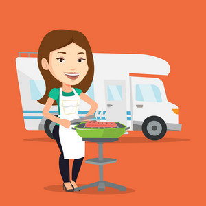 Caucasian woman cooking steak on the barbecue grill on the background of camper van. Young woman travelling by camper van and having barbecue party. Vector flat design illustration. Square layout.