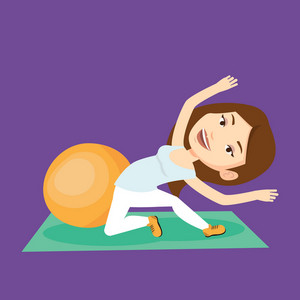 Caucasian woman exercising in the gym. Woman doing stretching on exercise mat. Sportswoman stretching before training. Woman doing stretching exercises. Vector flat design illustration. Square layout