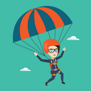 Caucasian woman flying with a parachute. Young woman paragliding on a parachute. Professional parachutist descending with a parachute in a blue sky. Vector flat design illustration. Square layout.