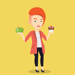 Caucasian woman holding apple and cupcake in hands. Woman choosing between apple and cupcake. Concept of choice between healthy and unhealthy nutrition. Vector flat design illustration. Square layout