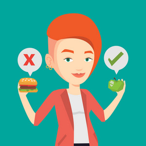 Caucasian woman holding apple and hamburger in hands. Woman choosing between apple and hamburger. Woman choosing between healthy and unhealthy nutrition. Vector flat design illustration. Square layout