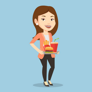 Caucasian woman holding tray with fast food. Young smiling woman having a lunch in a fast food restaurant. Happy woman with fast food. Vector flat design illustration. Square layout.