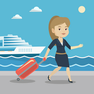 Caucasian woman is going to voyage on cruise liner. Woman walking on the background of cruise liner. Passenger of cruise liner walking on the pier. Vector flat design illustration. Square layout.