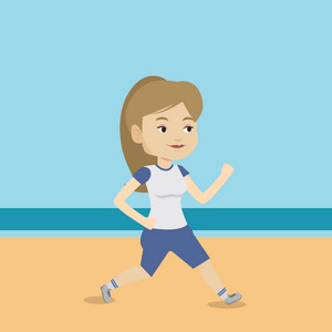 Caucasian woman jogging on the beach. Sporty female athlete running on the beach. Woman running along the seashore. Fit woman enjoying jogging on beach. Vector flat design illustration. Square layout.