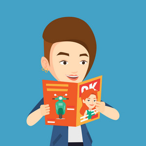 Caucasian woman reading a magazine. Young woman standing with magazine in hands. Happy woman reading good news in a magazine. Vector flat design illustration. Square layout.