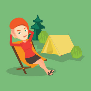 Caucasian woman relaxing in camping. Woman sitting in folding chair on the background of camping site with tent. Woman enjoying her vacation in camping. Vector flat design illustration. Square layout.