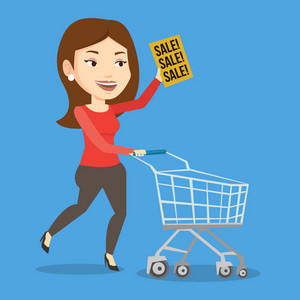 Caucasian woman running on big sale. Woman holding paper sheet with sale text. Woman with empty shopping trolley running in hurry to the store on sale. Vector flat design illustration. Square layout.