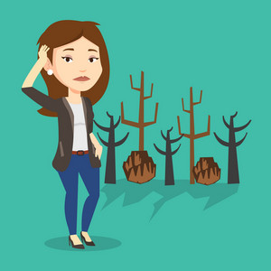 Caucasian woman scratching head on the background of dead forest. Dead forest caused by global warming or wildfire. Concept of environmental destruction. Vector flat design illustration. Square layout